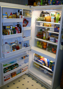 Keeping the fridge stocked makes menu planning easier! (P.S. This is not my fridge, it's a MorgueFile.com pic!)