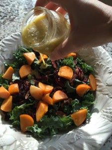 Dress the salad in advance and let the vinaigrette soften the kale slightly before service.